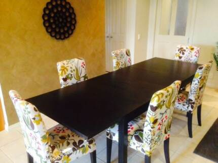 BJURSTA Ikea extendable Dining Table w 6 Chairs inc Covers Donvale Manningham Area Preview