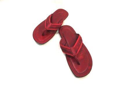 Auth LOUIS VUITTON Red Black Canvas &  Leather Sandals Men