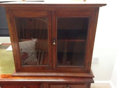 Antique Oak display cabinet late Victorianin superb condition and ready to hang