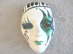 1 PAIR of WHITE SOLID HARD THEATRE BALLROOM GALA FACE Halloween North Shore Greater Vancouver Area image 1