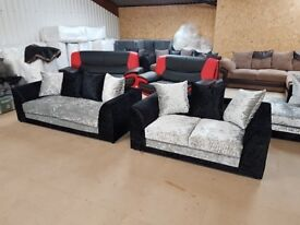 Sofa 3+2 Seater Crushed Velvet **Free Delivery**