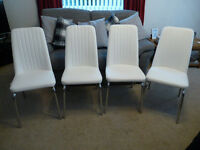 'Reduced' Set of 4 White Modern Padded Dining Chairs, As New