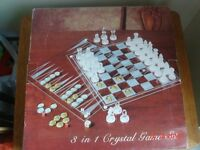 Imperial Crystal 3 in 1 games set - chess, backgammon, draughts - SORRY NO OFFERS