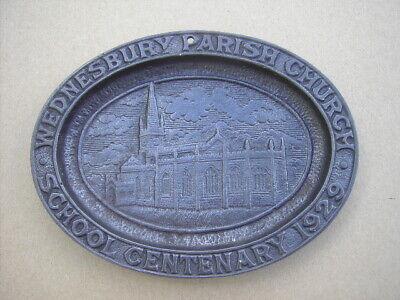 Antique Wednesbury Parish Church School Centenary Iron Plaque 1929.