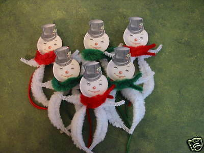 PRIMITIVE VINTAGE STYLE CHRISTMAS SNOWMAN ORNAMENTS CHENILLE FEATHER TREE