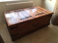 Wooden Chest / Storage Trunk and Side Table