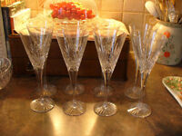 Eight Royal Doulton Crystal Wine Glasses