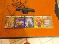 Xbox 360 kinect sensor, 2 kinect games and 3 console games