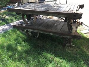 Warehouse carts vintage antique coffee table