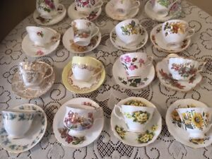 Fine bone china cups with saucers