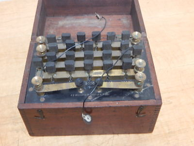 ANTIQUE F E BECKER & CO ON/OFF ELECTRIC CURRENT SWITCH IN BRASS/MAHOGANY CASE