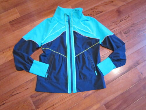 LULULEMON Ivivva field trip jacket inkwell teal size 8 tag confirmed ruffled ...