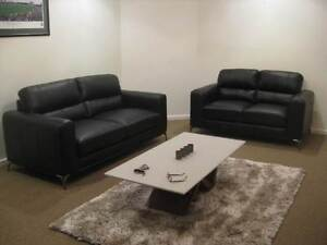 BLACK REAL LEATHER SOFAS/LOUNGE SUITE-NEW Balcatta Stirling Area Preview