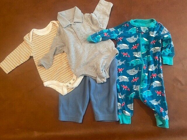 Baby Boy Clothes 0-3 Mos. Lot Of 4 Pieces Rene Rofe, Garanimals, Old Navy, Place