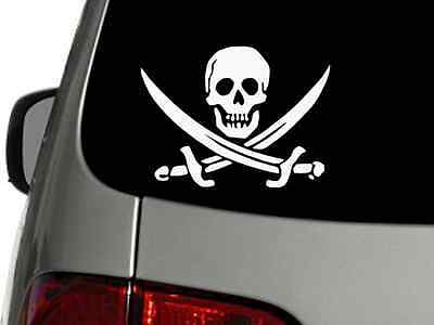 JOLLY ROGER PIRATE FLAG Skull Swords Vinyl Decal Car Sticker CHOOSE SIZE COLOR (Pirate Stickers)