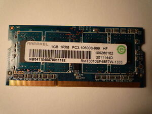 1 GB DDR3 PC3 10600 SODIMM 204 pin laptop memory RAM