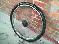 Mountain bike rear wheel 26 inch , 6 speed screw on fly wheel with a spare tyre & tube