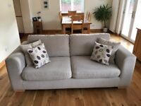1x John Lewis FELIX large sofa, 18mth old, evora fabric, colour putty, legs beech stained light oak