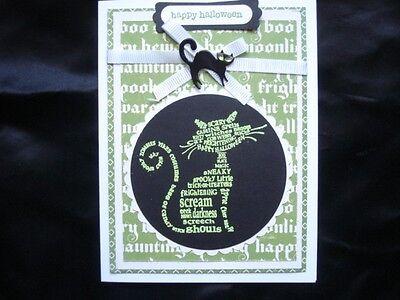 Handmade Halloween Card Using Stampin Up Frightening Feline Green Rhinestone Cat
