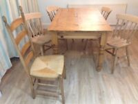 Solid Pine Farmhouse Table and 4 Beech Chairs