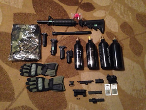 LOT OF PAINTBALL, AIRSOFT, HUNTING SIGHTS, BARRELS, ETC.