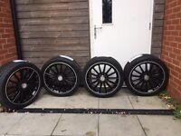 Mercedes alloys wheals 225 40 18 A C CLA A45 C63 W204 W176 Continental tyres