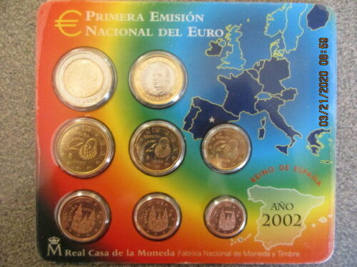 OFFICIAL EURO FIRST YEAR 2002 BU UNCIRCULATED SEALED EIGHT COIN SET SPAIN