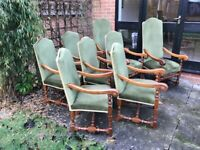 Eight Solid Oak Dining Chairs