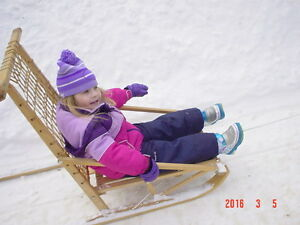 fold-able wooden dog sled with harness