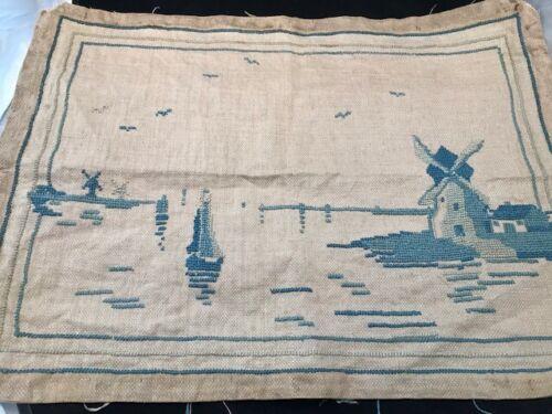 Antique Needlework Windmills on Water in Blue Tones