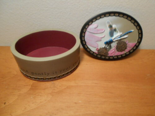 Beautiful Trinket Box with Dragon Fly and flowers 2008 Heartsteps