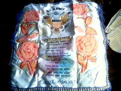 Us Army Fringed - US Army Carlisle Barracks PA MOTHER fringed satin Pillow Sham vintage old WWII