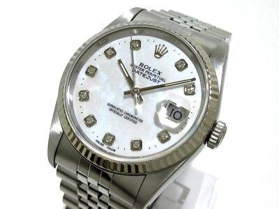 Auth ROLEX Datejust 16234G Silver, 18K White Gold, White E117862 Men