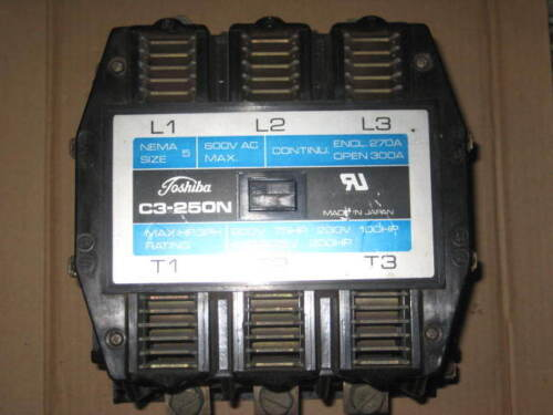 Toshiba Size 5 Contactor, C3-250N, 200 HP at 460 V, (B1)