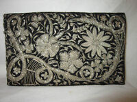 Beautiful Vintage Evening Clutch/Purse with Silver Needlework