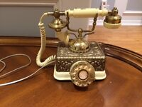 Vintage French Style Rotary Brass Plated Phone