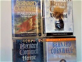 BERNARD CORNWELL (SHARPE) THE GRAIL QUEST; HARLEQUIN, VAGABOND, HERETIC, WINTER KING, CASSETTE TAPES