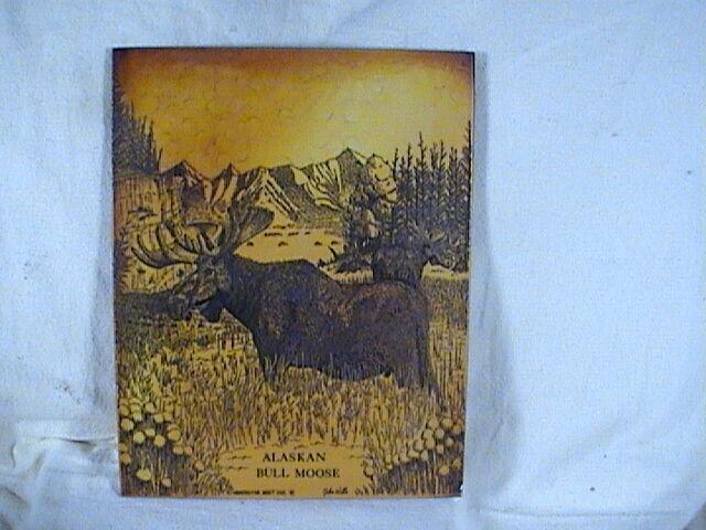 Etched Marble Alaskan Bull Moose Washington Mint Inc. Signed John Wills 1978
