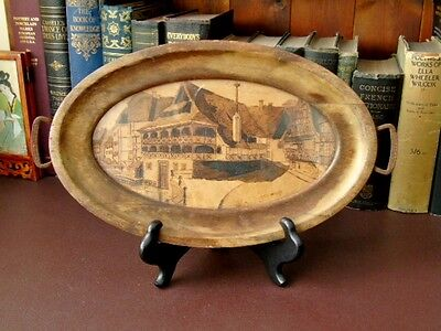 Vintage Wooden Drinks Tray / Wall Plaque - Pyrography Artist Signed Picture -