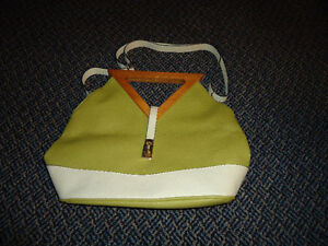 Ladies White And Green Two-In-One Purse