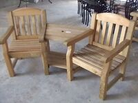 EMILY LOVE SEAT SOLID WOOD GARDEN BENCH 2 SEATER AND TABLE RRP£300 BRAND NEW! RRP£300 1 OFF BARGAIN!