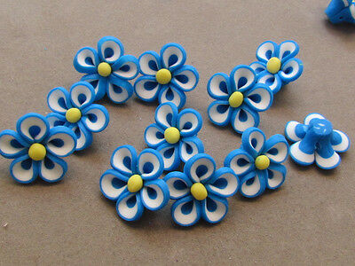 10 Handmade Polymer Clay Blue White Yellow Flower 22mm Beads(PPP3B)