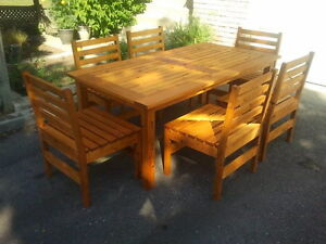 Cedar Outdoor Patio Dining Table with 6 Chairs - New