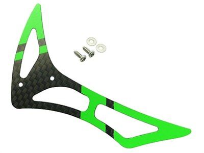 Rakon CNC 3K Pure Carbon Fiber Tail Fin Set (Black-Green) - Blade 230S