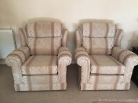 2 armchairs, fully upholstered, clean and comfortable, fire resistant.