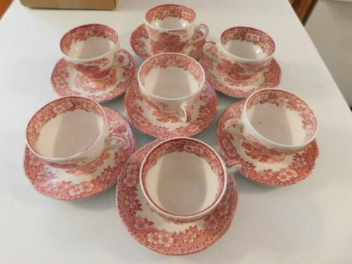 RARE RED WOODLAND ENOCH WEDGWOOD TUNSTALL COFFEE CUP & SAUCER ENGLAND 7 SETS VG
