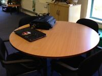 Circular Meeting Table and Four Padded Meeting Chairs