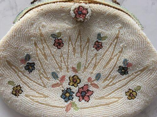 VTG FRENCH WHITE BEADED EVENING BAG HANDBAG PURSE BRIDAL WOLBORG FRANCE Flowers