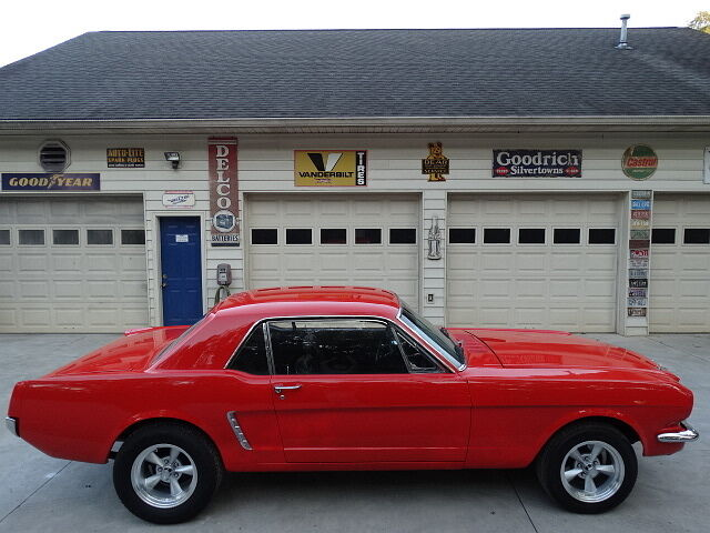 1965 mustang good poppy red paint nice black interior used ford mustang for sale in athens. Black Bedroom Furniture Sets. Home Design Ideas