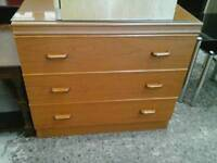 Modern Chest Of 3 Drawers with Glass Top